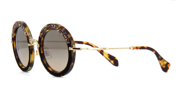 MIU MIU Limited Edition MU 08RS Light Havana with Hand Set Crystals
