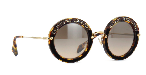 MIU MIU Limited Edition MU 08RS Light Havana with Hand Set Crystals -  - Sunglasses - Sunglass Trend - 3