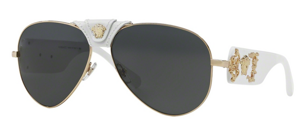 VERSACE MOD VE 2150 Q 134187 Gold & White Aviator Sunglasses