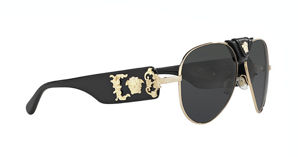 VERSACE VE 2150-Q 1002/87 Gold Aviator Sunglasses