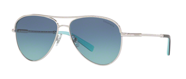 Tiffany and Co. Diamond Point Silver Aviator Sunglases with Blue Lens TF 3062