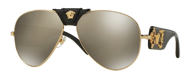 VERSACE AVIATOR WITH GOLD MIRRORED LENS