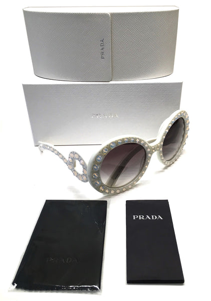 PRADA PR 31PS TKL-0A7 ORNATE BAROQUE SUNGLASSES IVORY WHITE WITH WITH CRYSTALS -  - Sunglasses - Sunglass Trend - 7