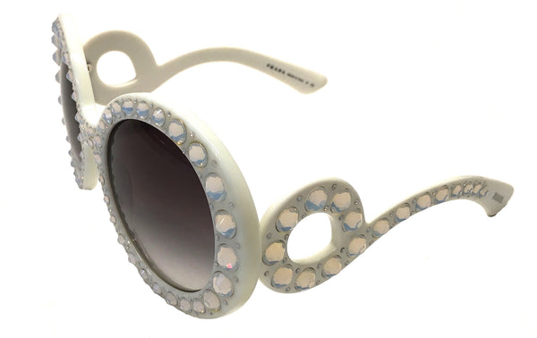 PRADA PR 31PS TKL-0A7 ORNATE BAROQUE SUNGLASSES IVORY WHITE WITH WITH CRYSTALS -  - Sunglasses - Sunglass Trend - 1