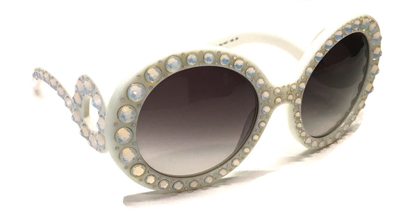 PRADA PR 31PS TKL-0A7 ORNATE BAROQUE SUNGLASSES IVORY WHITE WITH WITH CRYSTALS -  - Sunglasses - Sunglass Trend - 4