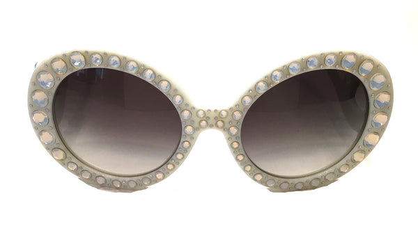 PRADA PR 31PS TKL-0A7 ORNATE BAROQUE SUNGLASSES IVORY WHITE WITH WITH CRYSTALS -  - Sunglasses - Sunglass Trend - 2