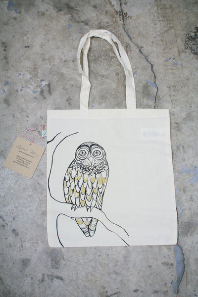 """Owl"" Hand Screen Printed Tote Bag"