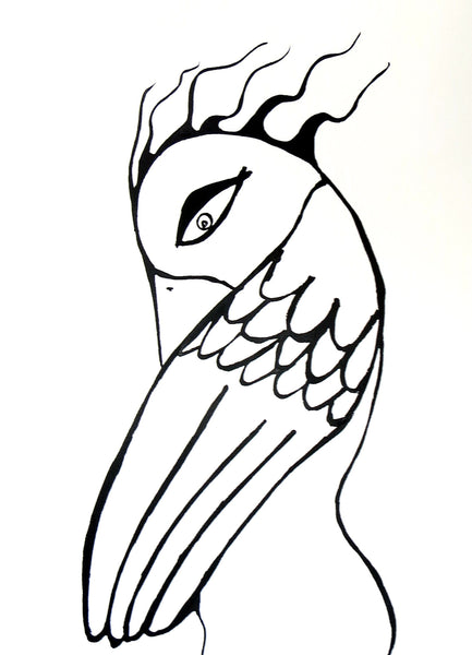 Bird Woman Ink Drawing