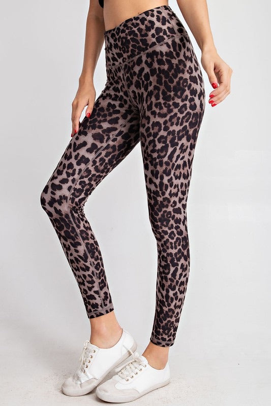 Brown Full Length Leopard Legging