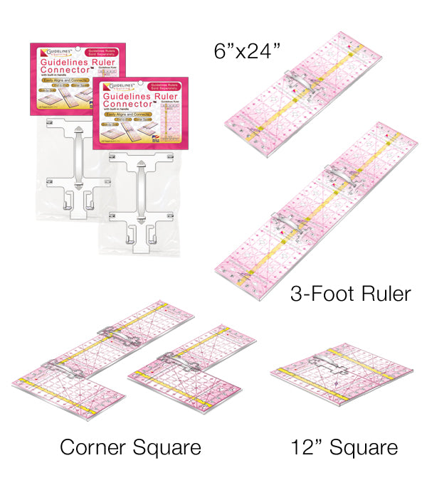 3-Guidelines-Ruler-Perfect4Pattern Set: Square up, Sew & Cut Accurately