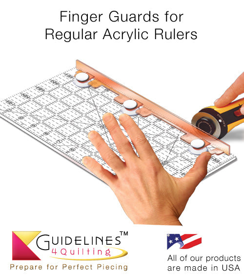 Finger Guards for Regular Acrylic Quilt Rulers for Rotary Cutting Safety