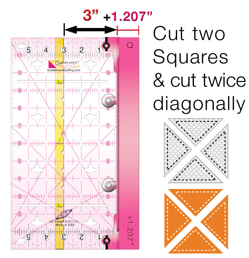 Finished-Size Quilting Set with 2 Guidelines Rulers: Make blocks any size. No Math!