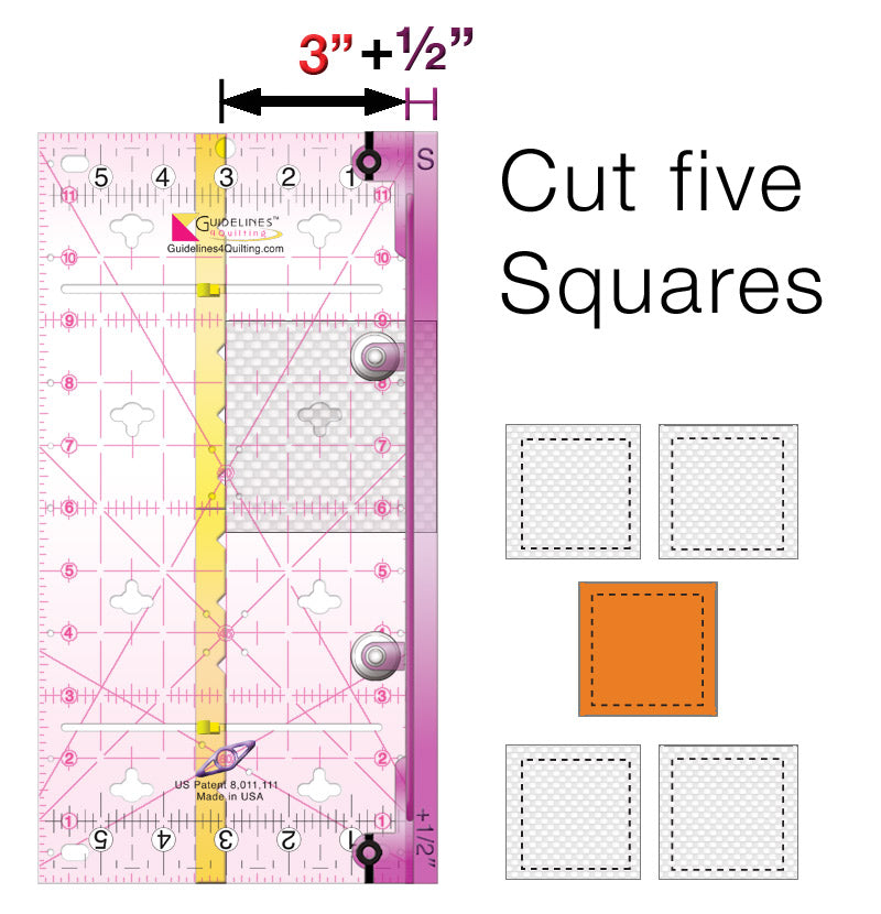 3-Ruler Finished-Size Quilting Set: Make Quilt Blocks Any Size-No Math-No Dies.
