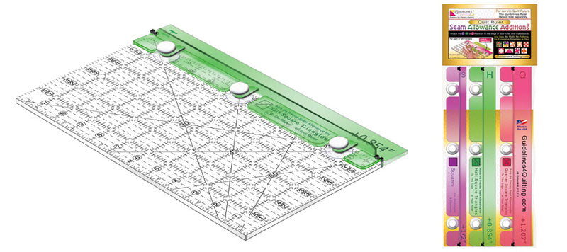 """Super Easy"" Finished Size Quilting Set for 12"" Acrylic Quilt Ruler of Any Brand"