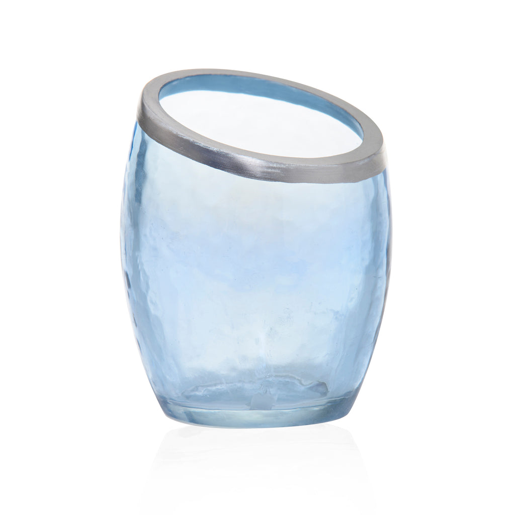 Pearlescent Crackle - Blue Votive Holders