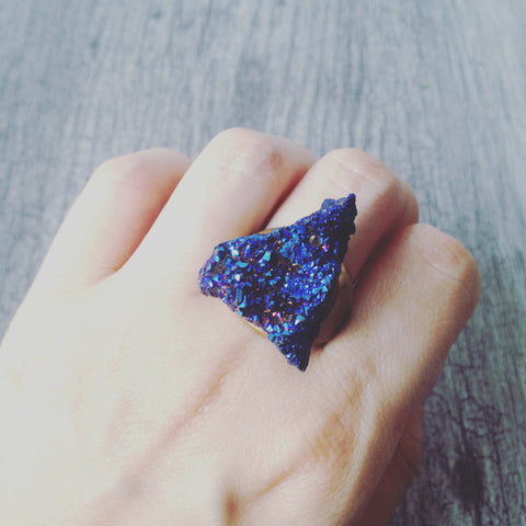 Titanium Druzy Triangle Ring