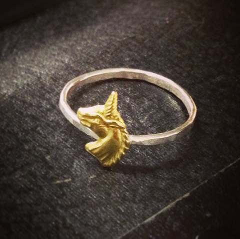 Unicorn Ring (sterling silver + Brass)