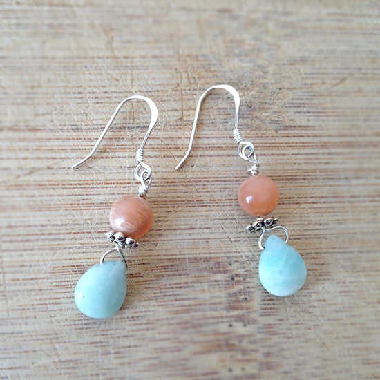 Sterling Silver Amazonite Moonstone Earrings