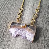 Amethyst Druzy slice Necklace