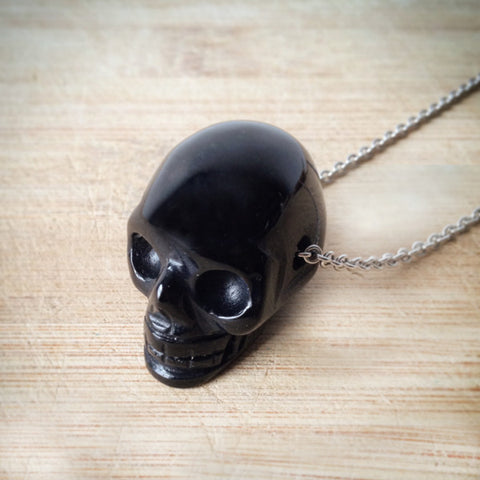 Black Agate Skull Necklace