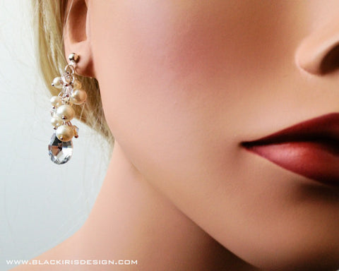 Cluster Pearl earrings with tear drop crystal