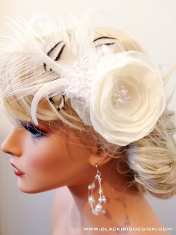 White Rose fascinator (black and white feathers)