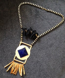 Blue Pyramid Necklace