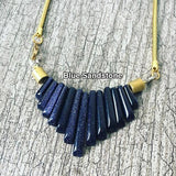 Stone Fan shaped Brass Necklace