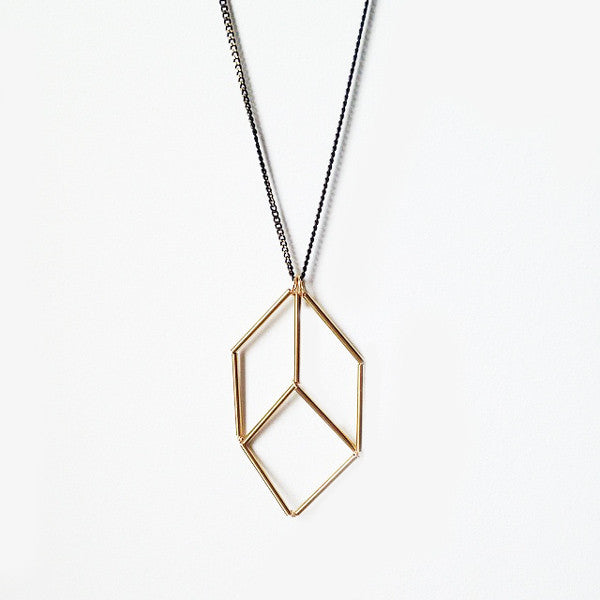 Brass cube optical illusion geometric necklace