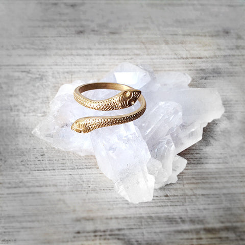 Brass Double Snake Ring