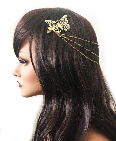 Gold Butterfly Hairchain