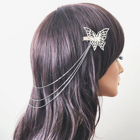 Silver Butterfly Hairchain