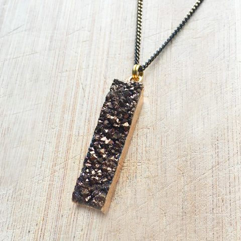 Chocolate Brown Rectangle Agate Druzy Necklace
