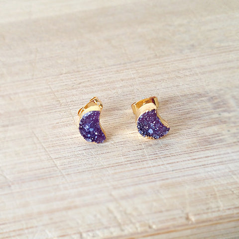 Purple Moon Agate Druzy Earrings