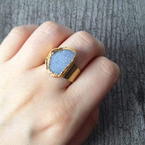 Agate Druzy Ring (Pale Blue)