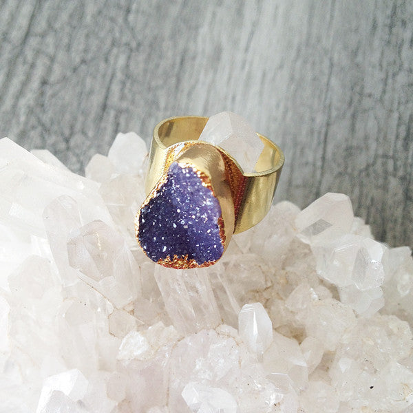 Agate Druzy Ring (Purple)