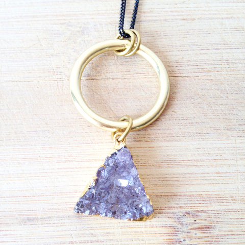Triangle Amethyst Druzy Necklace