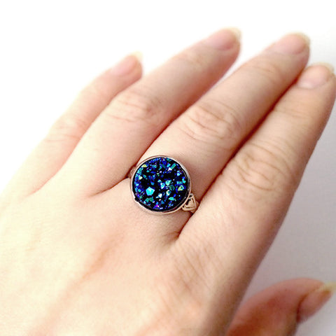 Midnight Blue Druzy Ring