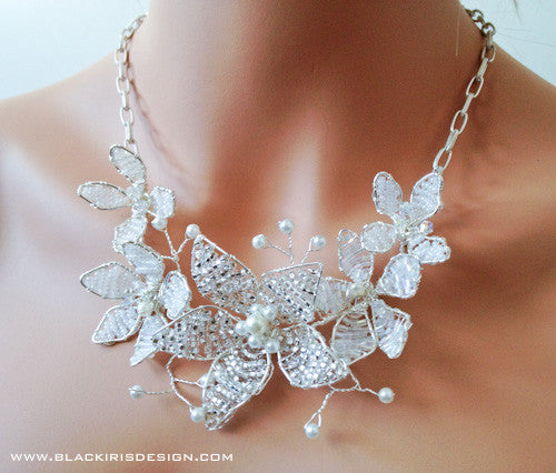 Flower Cluster Statement Necklace