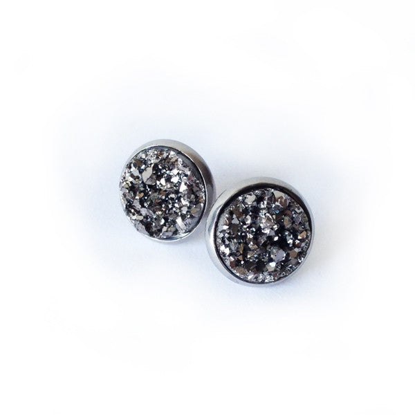 Gunmetal Grey Druzy Earrings