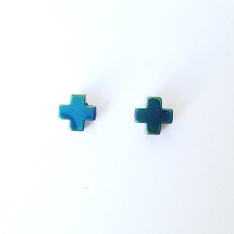 Cross Hematite Earrings Earrings (Green)