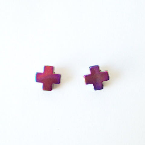 Cross Hematite Earrings Earrings (Purple)