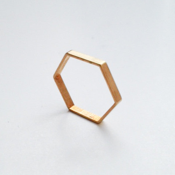 Hexagon brass ring