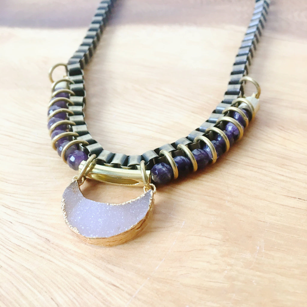 Chandra Druzy Moon Amethyst Necklace