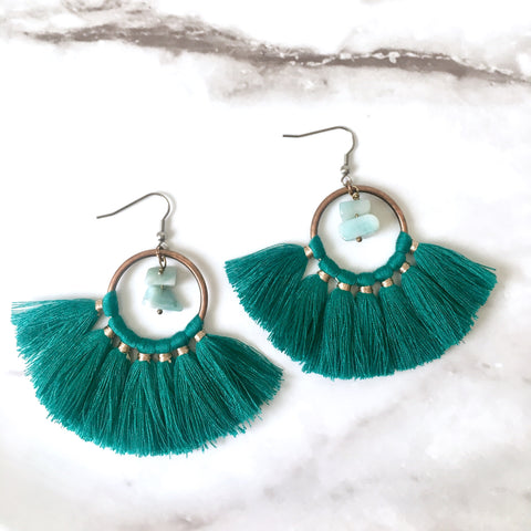 Amazonite green tassel earrings