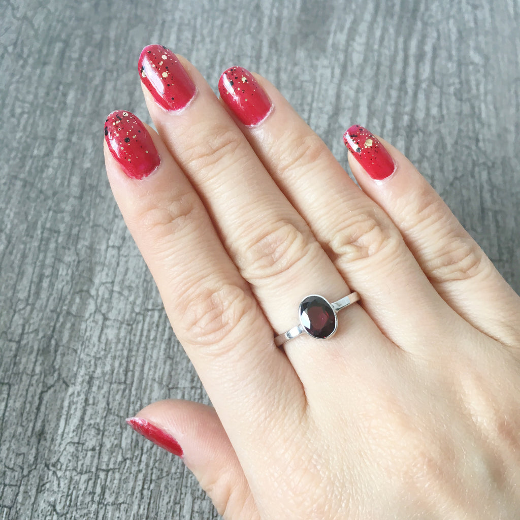 Sterling Silver oval Red Garnet Ring