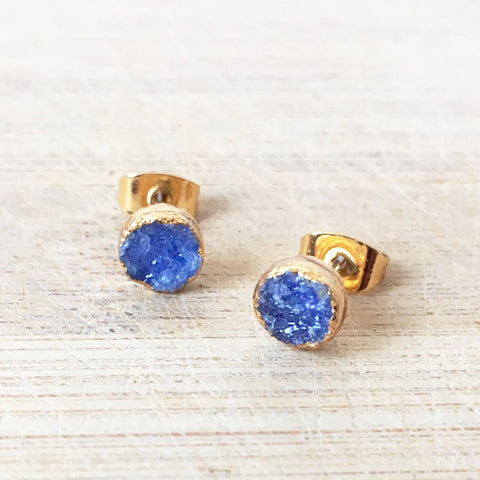 Blue Agate Druzy Earrings