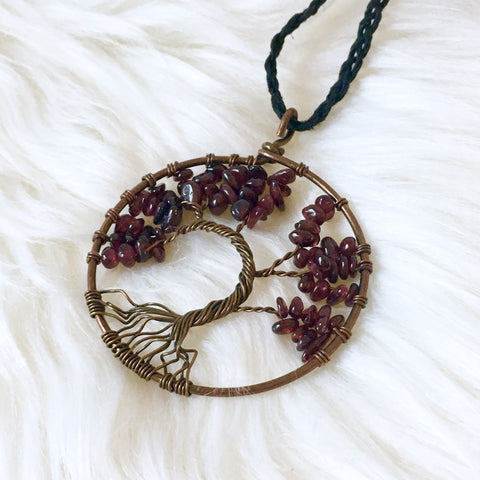 Red Garnet Tree of Life Necklace