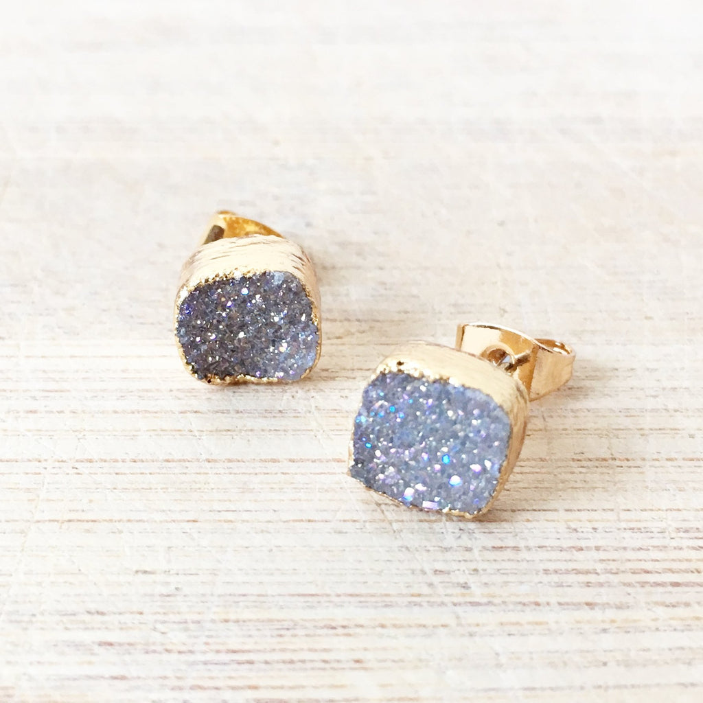 Grey square Agate Druzy Earrings