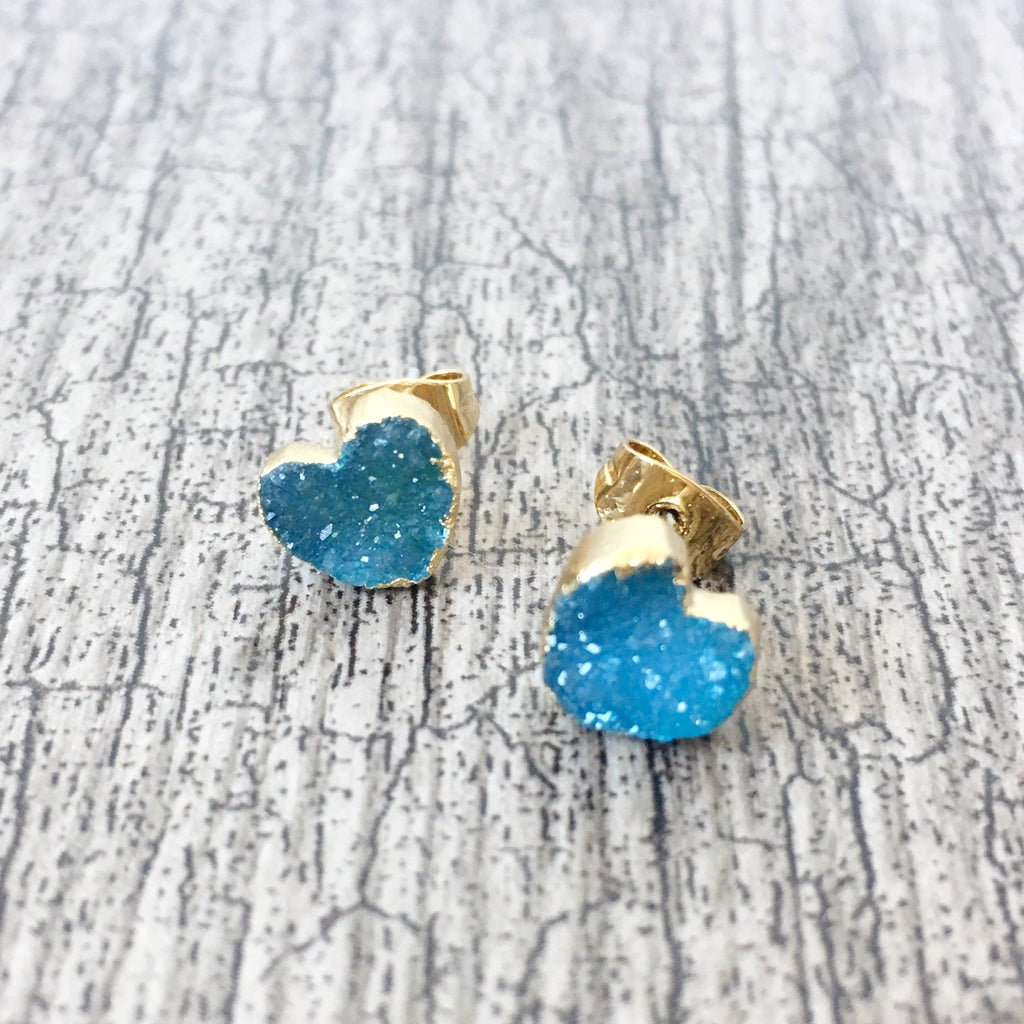 Blue Agate Druzy Heart Crystal Earrings